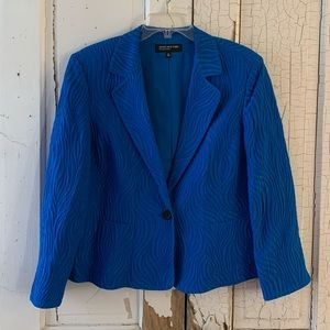 Jones New York blue silk linen blazer Size 14